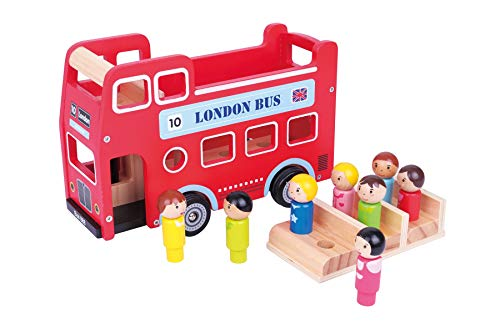 Lelin Wooden Original Double Decker Red Classic London Sight Seeing Bus with Driver & Passenger Figurines