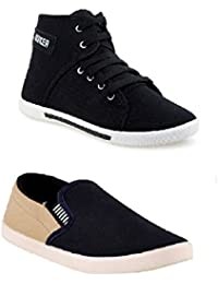STYLIVO Combo Pack Of Casual Black Sneaker & Beige Loafer Shoes For Men's