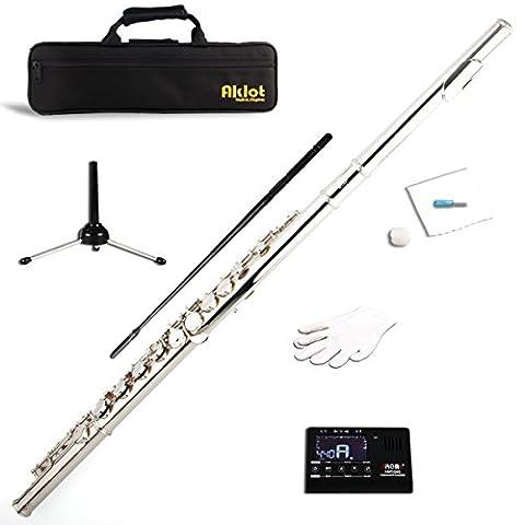 aklot C Flûte Cupronickel plaqué nickel pour étudiant Split E avec support Tuner Kit de nettoyage... MI1862 Flute with Accessories