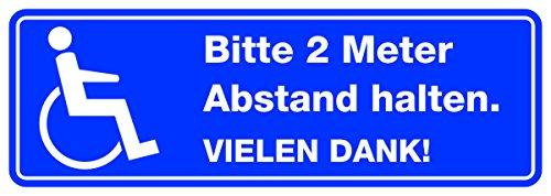 Preisvergleich Produktbild easydruck24 Bitte 2 Meter Abstand Halten I Aufkleber für Rollstuhl-Fahrer Wetterfest 20 cm