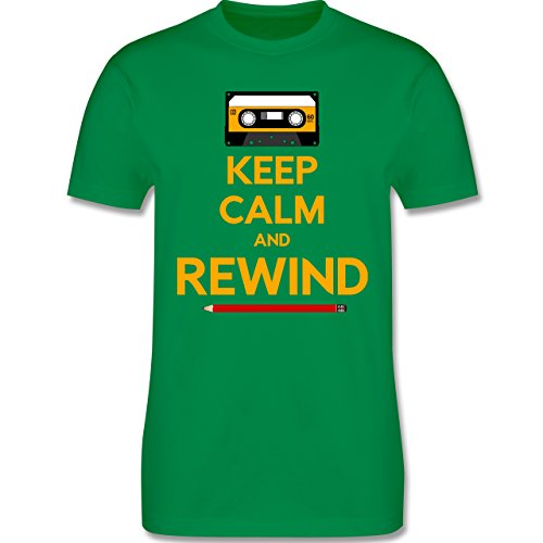 Music - keep calm and rewind - L190 Herren Premium Rundhals T-Shirt Grün