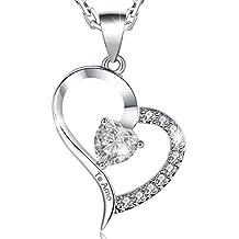 "MARENJA-Regalo San Valentín Collar Mujer de Moda-Colgante Corazón Grabado ""Te Amo"" con Cajita Joyero con Rosa Preservada Eterna-Joya Chapada en Oro Blanco con Cristal"