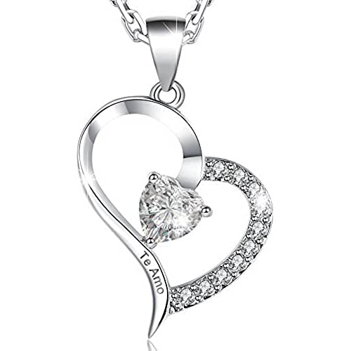 MARENJA-Regalo San Valentín Collar Mujer de Moda-Colgante Corazón Grabado Te Amo con Cajita Joyero con Rosa Preservada Eterna-Joya Chapada en Oro Blanco con Cristal