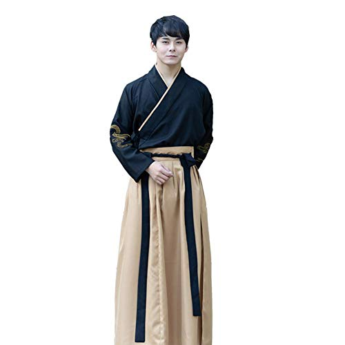 Susichou Chinesischer Stil, verbesserte Tracht, Herrenbekleidung, Hanfu, Kampfkunst, Studentenuniform, Leistungskleidung (XXL)