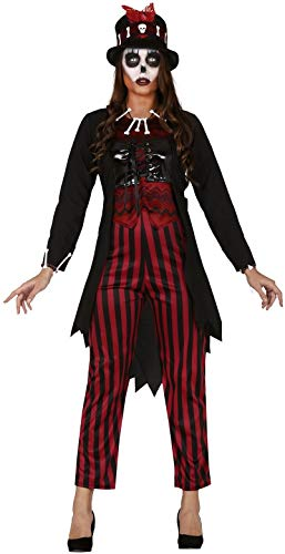 Gruselige Kostüm Hexe - Fancy Me Damen rot-schwarz Voodoo-Hexe gruselig gruselig gruselig Halloween Karneval Kostüm Outfit UK 10-16