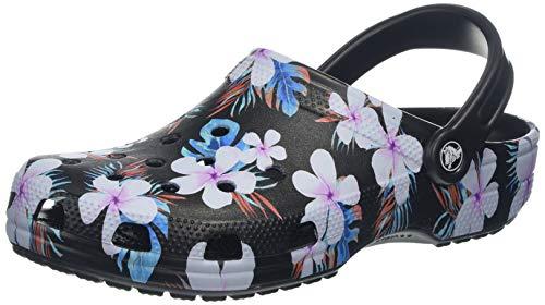 crocs Unisex-Erwachsene Classic Seasonal Graphic Clogs, Schwarz (Black/Floral 0cv), 42/43 EU