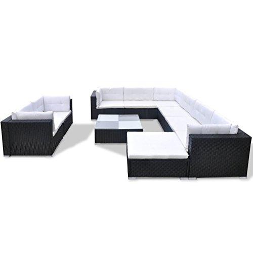 Festnight 32-tlg. Gartensofa Set mit 1 Teetisch Gartenlounge Garten Lounge-Set aus Polyrattan Loungegruppe Sitzgruppe für Terrasse Garten – Schwarz - 4