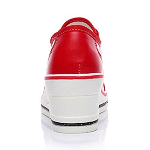 Damen Leichtgewicht Schnürhalbschuhe Sommer Atmungsaktiv Mesh Schnürsenkel Sterne Keilabsatz Bequeme Sneakers Rot