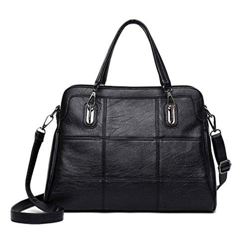 Bag - Handtasche Damen in Schwarz, Rot, Pink,Grau- Tasche aus Kunstleder mit Reißverschluss & Handyfach Schwarz