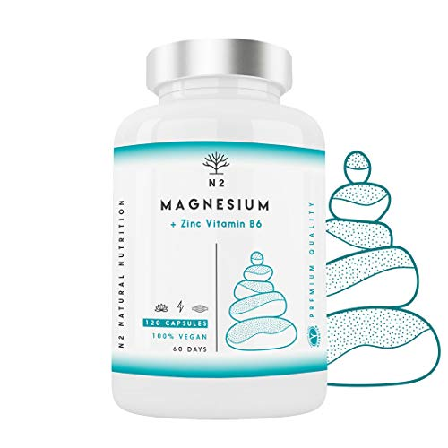 ZMA Magnesio Zinc Vitamina B6 Aumenta Nivel Testosterona Energía Rendimiento Deportivo Reduce Cansancio Mejor Sueño Alta Concentración 120 Cápsulas Clorofila.Certificado VEGANO CE.N2 Natural Nutrition