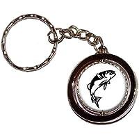 Pesce bass Jumping Nero su Bianco–Catena chiave anello portachiavi