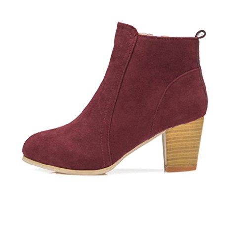 Stiefeletten Damen Winter Btruely High Heels Stiefel Frühling Schuhe Mode Mädchen Dicke Stiefel Warme Martin Stiefel Slouchy Schuhe (37, Rot) (Slouchy-stiefel)