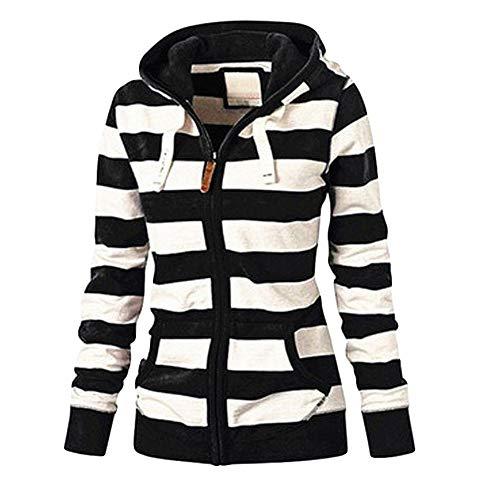 ESAILQ Damen Zipper Tops Hoodie Kapuzenpulli Mantel Jacke LäSsiger DüNner Pullover(XX-Large,Schwarz)
