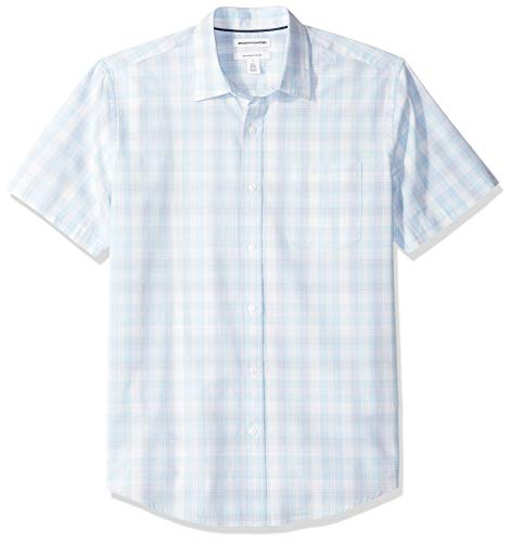 Amazon Essentials Regular-Fit Short-Sleeve Stripe Shirt Buttondown-Hemd, Light Blue/White Plaid, US (EU XS) -