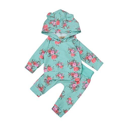 Jungen 2pcs Kleider Set Blumen Kapuzenpullover Tops + Hosen Outfits (70cm, Blau) (Kind Sailor Kostüme)