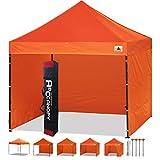ABCCANOPY Pavillon 3x3m WASSERDICHT Flatpavillon Partyzelt Gartenzelt Festzelt mit 4 Seitenteilen+Handtasche,Orange