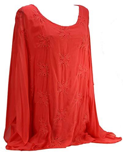BZNA Seiden Tunika Coral Red Rot Bluse mit Blumen Muster Seidentunika Fledermaus Ärmel 36 38 40 42 44 46 one size Damen Dress Blümchen Oberteil elegant