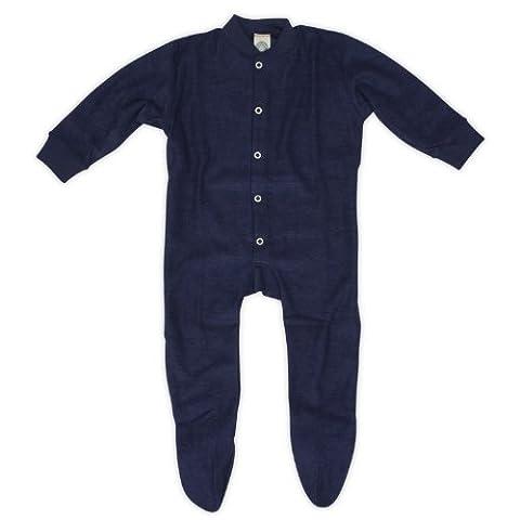 Cosilana Baby Schlafanzug mit Fuß, Farbe Marine, Größe 98, Woll-Frottee 100% Schurwolle kbT