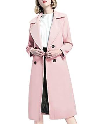 Giacca Da Donna A Maniche Lunghe Cappotto Lungo Classico Slim Fit Coat Doppio Petto Capispalla Pink L