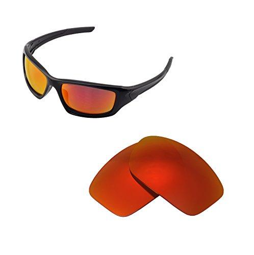 Walleva Ersatzgläser für Oakley Valve Sonnenbrille - Mehrfache Optionen verfügbar (Feuerrot - Polarisiert)