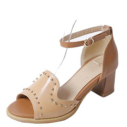 TAOFFEN Femmes Classique Peep Toe Sandales Bloc Talons Moyen Sangle De Cheville Gladiateur Chaussures Kaki