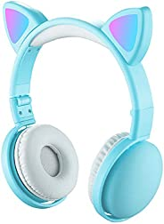RuleaxAsi LED Cat Ear Headphones RGB Color Bluetooth 5.0 Headsets Noise Cancelling Foldable Adults Kids Earpho