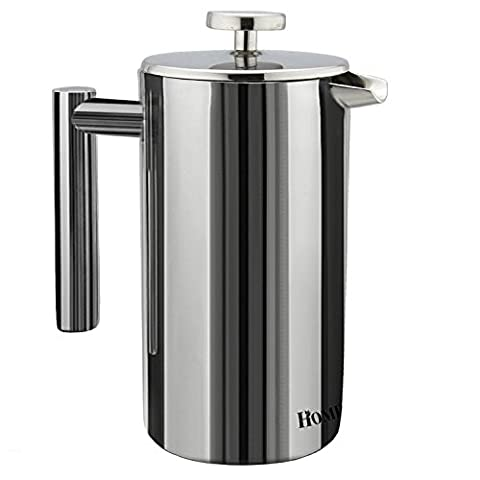 Homdox 8 Cups, 34 Oz French Press Coffee Maker, 1000ml Double Wall Stainless Steel Cafetiere
