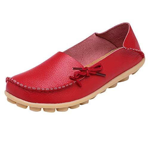 Yvelands Damen Mutter lässig weiche Schuhe Krankenschwester Krawatte Flache Schuhe lässige Fahrschuhe(rot,41)
