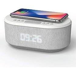 Radio Reveil avec Chargement sans Fil Qi, Port de Chargement USB, Radio FM, Enceinte Bluetooth, Double Alarme et Affichage à LED (Blanc)