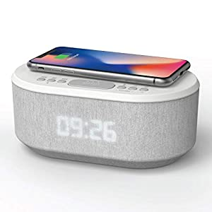 Bedside Alarm Clock Radio Non Ticking with USB Charger