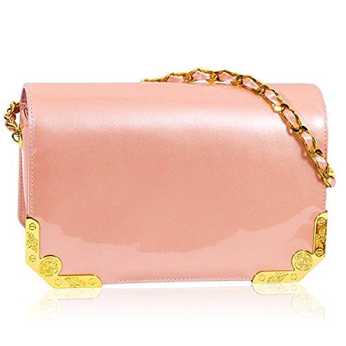 Valentino Orlandi Italienischen Designer Rose Leder Applikation Crossbody Tasche