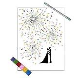 EQLEF® Gästebuch Hochzeit weiß Schöne Feuerwerks Kreative Hochzeit Dekoration Personalisierte Gästebuch Hochzeit Deko - Süßes Liebpaar Hochzeit Fingerabdruck-Malerei 11.8''x15.7 '' (M)