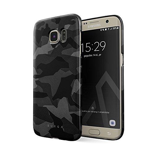BURGA Samsung Galaxy S6 Edge Hülle, Nacht Grau Städtisch Schwarz Camo Camouflage Tarnung Muster Dünn, Robuste Rückschale aus Kunststoff Für Samsung Galaxy S6 Edge Handyhülle Schutz Case Cover
