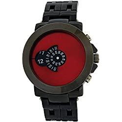 Softech Gents Modern Rotating Red Dial Gunmetal Tone Bracelet Strap Watch SE234