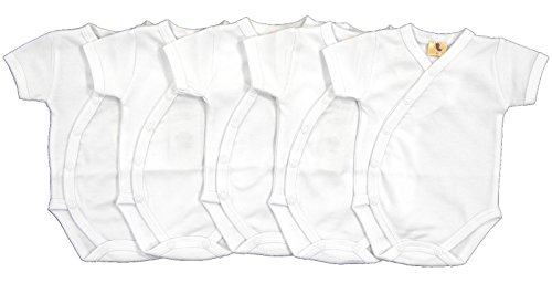 5er Set Baby Wickelbody Kurzarm weiß Größe 50-68 (50)