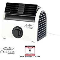 Sichler Haushaltsgeräte Kleiner Tischventilator: Leistungsstarker High-Power-Walzen-Tisch-Ventilator VT-113.T, 30 Watt (Reise-Ventilator)
