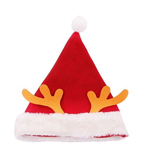 Deluxe Plüsch Santa Kostüm - Beautyrain Nikolausmütze, Weihnachtsmützen, Weihnachtsmütze für Erwachsene