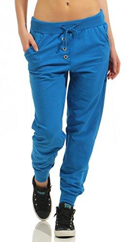 Damen Freizeithose Sporthose Sweat Pants lang (623), Grösse:XL / 42, Farbe:Blau