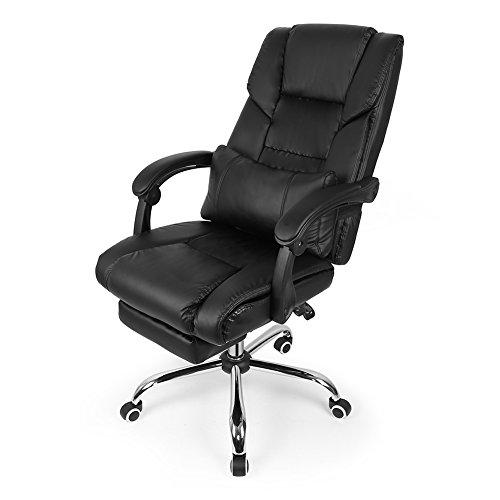 Flyelf sedia da ufficio, schienale regolabile (150°) con poggiapiedi estensibile, braccioli e imbottito, altezza regolabile (116-126 cm), nero