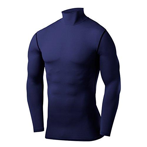 PowerLayer Jungen Kompressionsshirt/Funktionsshirt mit Stehkragen - Langarm - Marineblau, 164 (12-14 Jahre)