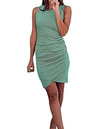 Ajpguot Vestiti da Donna Rotondo Collo Abiti Estivo Irregolare Abito a  Tubino Elegante Mini Vestito di 7d0b0bf93d5