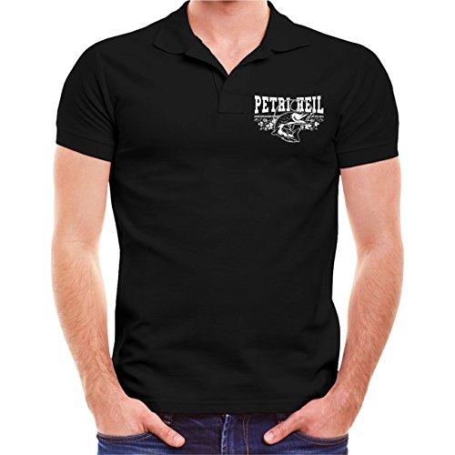 Männer und Herren POLO Shirt Angler Zum Angeln geboren zur Arbeit gezwungen (mit Rückendruck) Schwarz