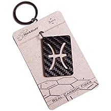 Llavero de fibra de carbono signo del zodiaco Pisces Piscis accesorios astrologíco