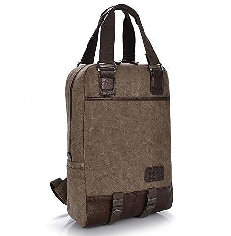 Khaki Canvas Rucksack Zwei Innentaschen; shcool Handtasche für iPad Pro 12,9/Apple MacBook Pro 33,8cm/Microsoft Surface Pro 4/Lenovo G40Z40Z4114/HP SlateBook 14/Pavilion 14Laptops