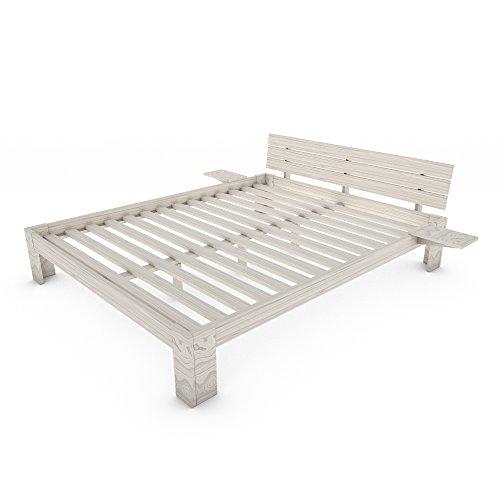 MSS® Doppelbett Duo 200x160 cm weiß + VitalFoam H2 aus Massivholz mit Lattenrost und Nachttischablage