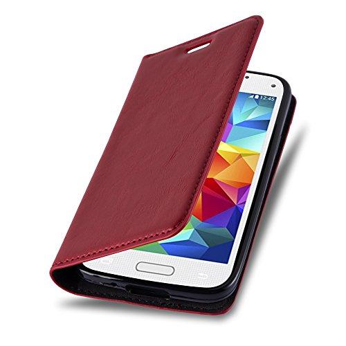 Cadorabo Hülle für Samsung Galaxy S5 Mini / S5 Mini DUOS - Hülle in Apfel ROT - Handyhülle mit Magnetverschluss, Standfunktion und Kartenfach - Case Cover Schutzhülle Etui Tasche Book Klapp Style