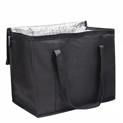 OOSAKU EIS Kühltasche Faltbare isolierte thermische Mittagessen Picknick Tasche für kaufenden kampierenden Reise-Nahrungsmitteltransport (Schwarz, L)