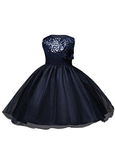Azbro Girl's Sleeveless Flower Sequins Long Prom Dress Navy