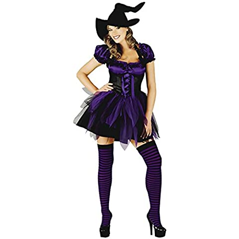 Womens Sexy Valentines Halloween Fancy Dress Costumes Many Designs Cute Sizes S-XL (Small (8-10), Purple Witch