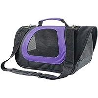 Nobleza - Bolso transportín de Viaje Plegable para Perros y Gatos. Tela Oxford, Color Negro y Morado. Talla M, (40 * 23 * 24) cm